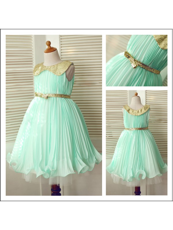 Green Scoop Chiffon Tea-Length Flower Girl Dresses