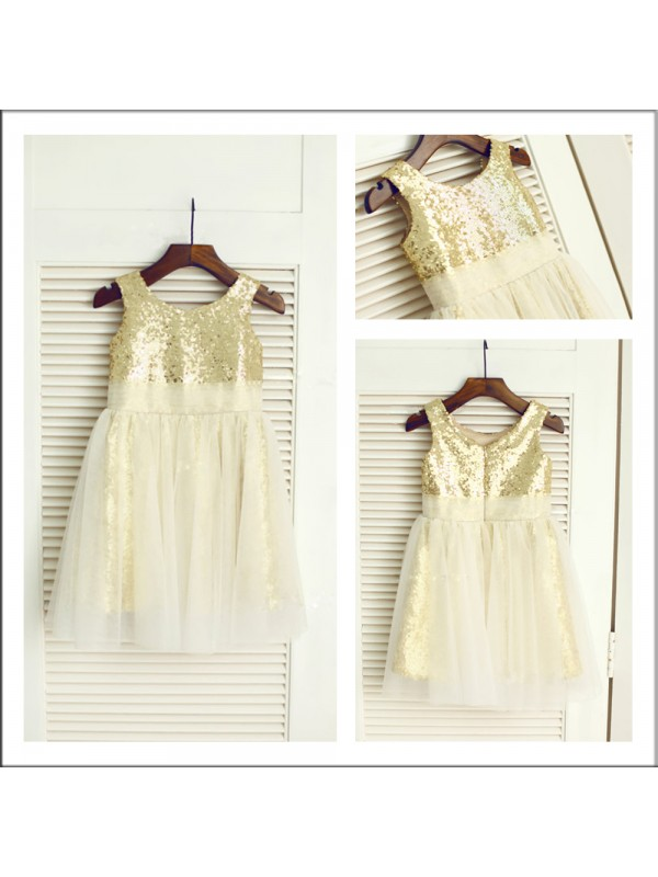 A-Line Scoop Tea-Length Gold Flower Girl Dresses with Sequin
