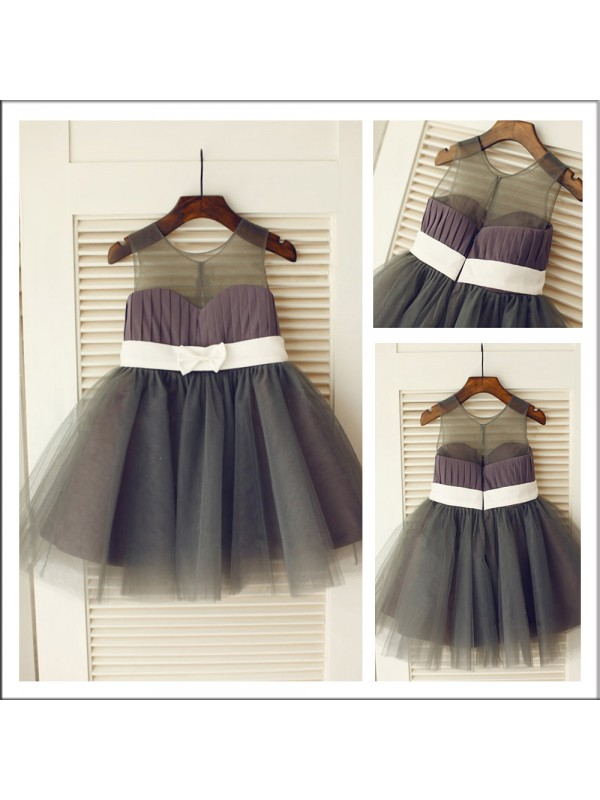 Tulle Scoop Knee-Length Hunter Green Flower Girl Dresses