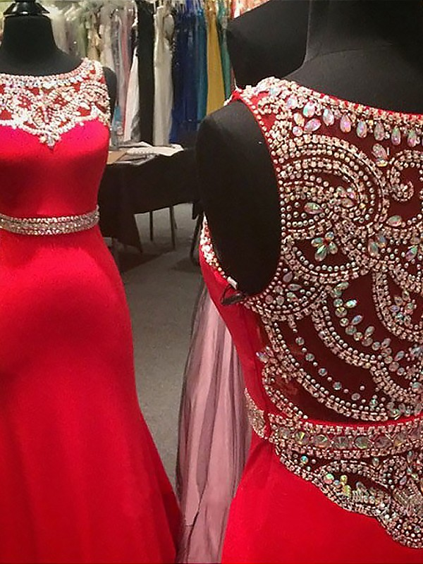 Mermaid Scoop Brush Train Red Prom Dresses