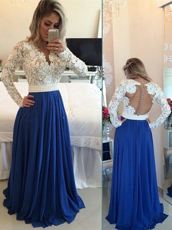 a65db25187 A-Line Chiffon Long Sleeves V-neck Floor-Length Prom Dresses ...