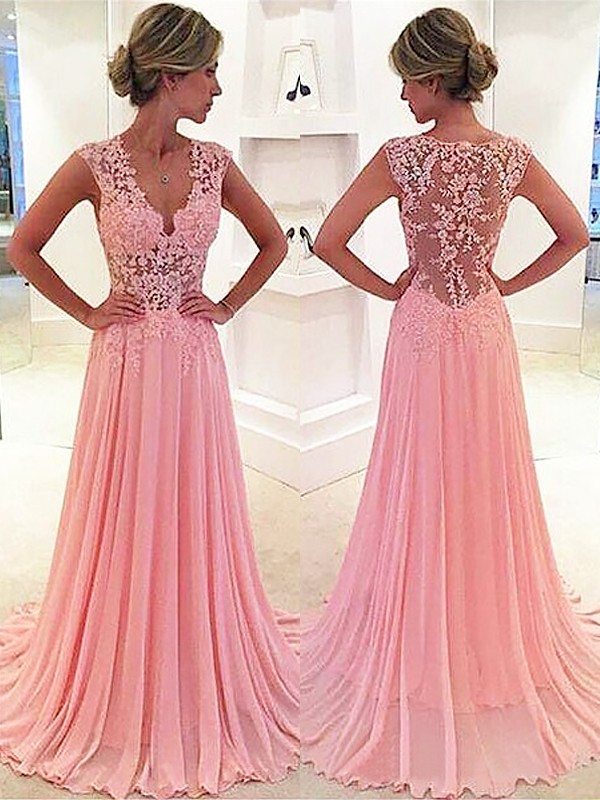 Chiffon V-neck Brush Train Pink Prom Dresses