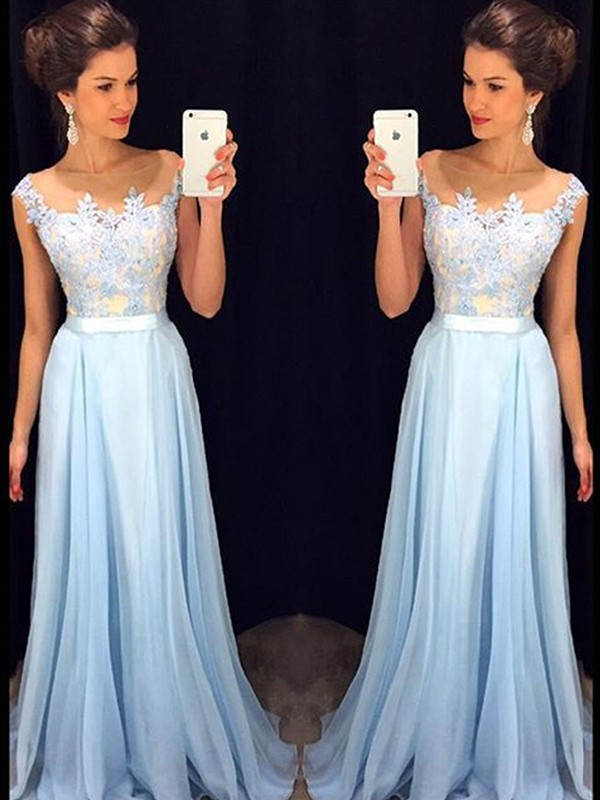 Blue Sheer Neck Chiffon Brush Train Prom Dresses