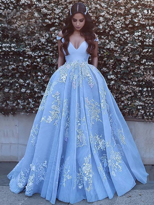 Ball Gown Off-the-Shoulder Brush Train Blue Prom Dresses with Applique