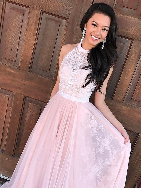 A-Line Halter Brush Train Pink Prom Dresses with Lace