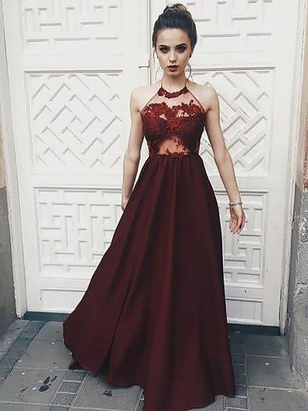 Halter Floor-Length Burgundy Prom Dresses with Applique