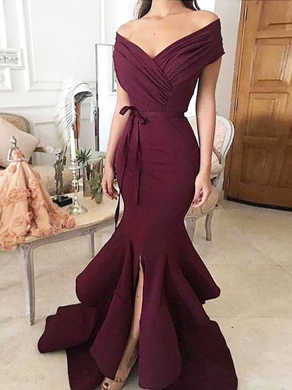 Satin Off-the-Shoulder Floor-Length Burgundy Prom Dresses