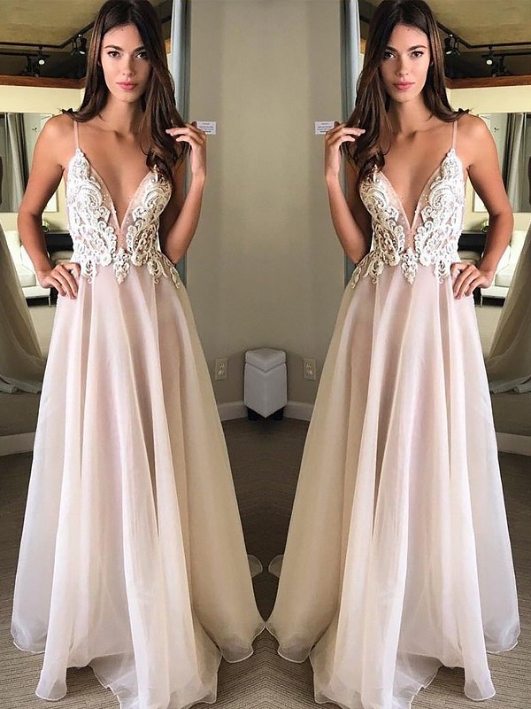 A-Line Spaghetti Straps Brush Train White Prom Dresses with Applique