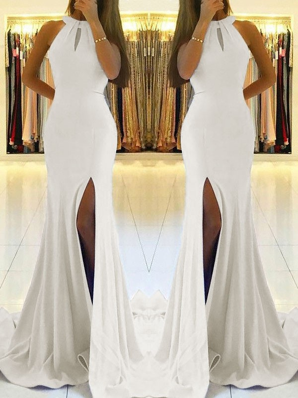 Ivory Sheath Halter Brush Train Prom Dresses with Ruffles