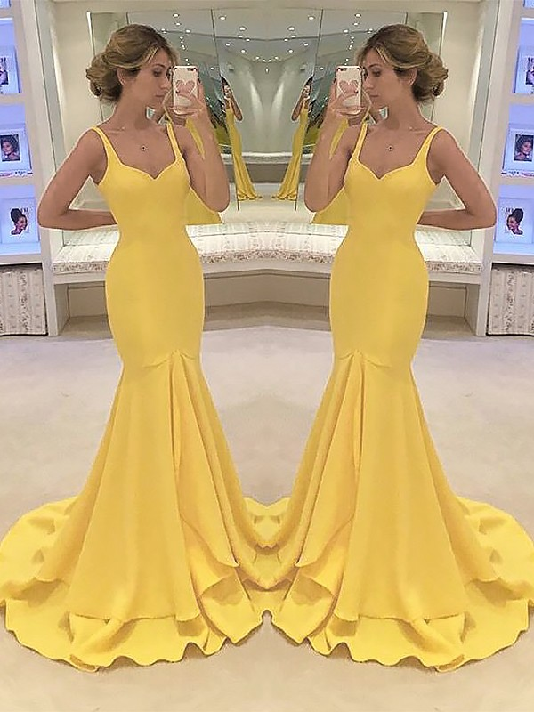 Daffodil Spaghetti Straps Satin Brush Train Prom Dresses