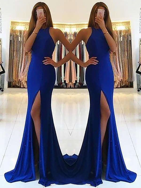 Sheath Halter Brush Train Royal Blue Prom Dresses with Ruffles