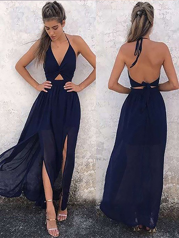 A-Line V-neck Floor-Length Dark Navy Prom Dresses with Ruched