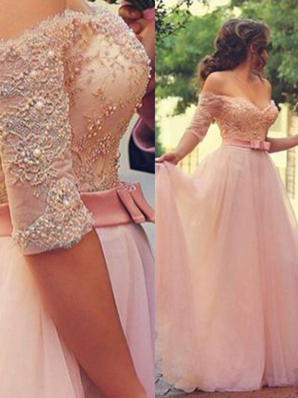 A-Line Off-the-Shoulder Floor-Length Pink Prom Dresses with Lace