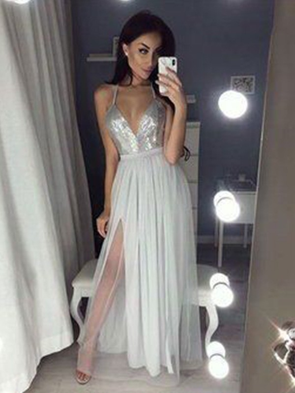 Chiffon V-neck Floor-Length Silver Prom Dresses