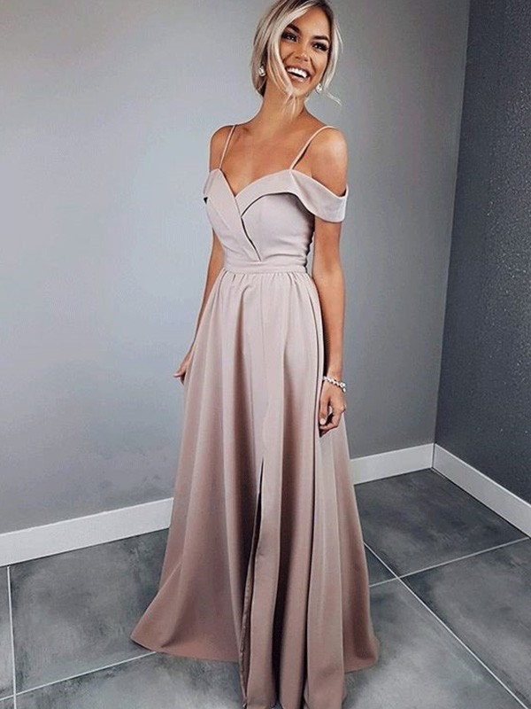 Short Sleeves A-Line Spaghetti Straps Floor-Length Pearl Pink Prom Dresses