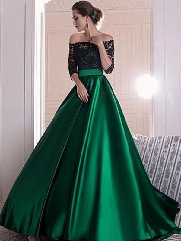 Satin A-Line Brush Train 3/4 Sleeves Off-the-Shoulder Dark Green Prom Dresses