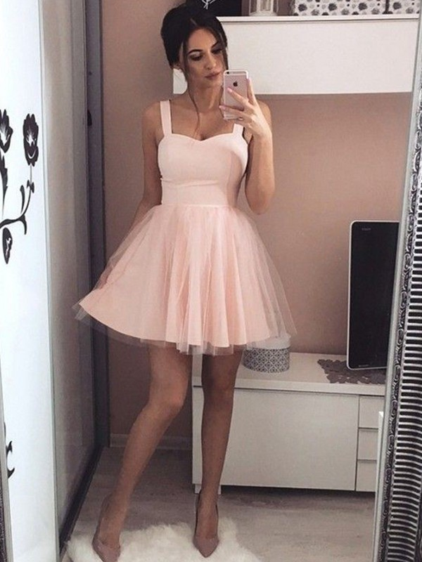 Satin Straps Short/Mini Pink Homecoming Dresses