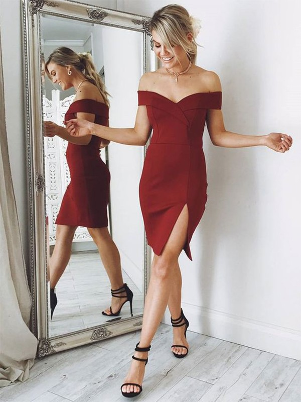Sheath Off-the-Shoulder Short/Mini Burgundy Homecoming Dresses