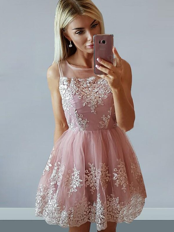 Tulle A-Line Short/Mini Scoop Pink Homecoming Dresses