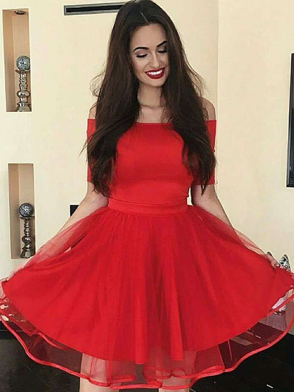 Red Off-the-Shoulder Organza Short/Mini Homecoming Dresses