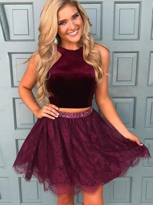A-Line Satin Halter Short/Mini Burgundy Homecoming Dresses