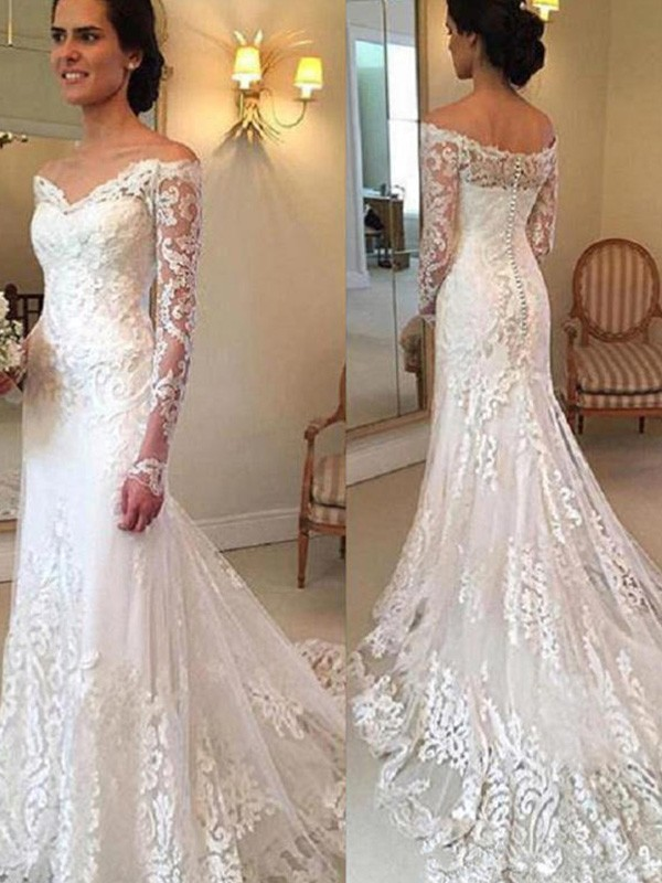 Ivory Mermaid Off-the-Shoulder Wedding Dresses with Applique