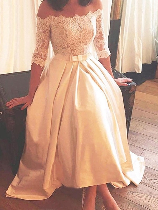 A-Line Satin Half Sleeves Off-the-Shoulder Asymmetrical Wedding Dresses with Lace