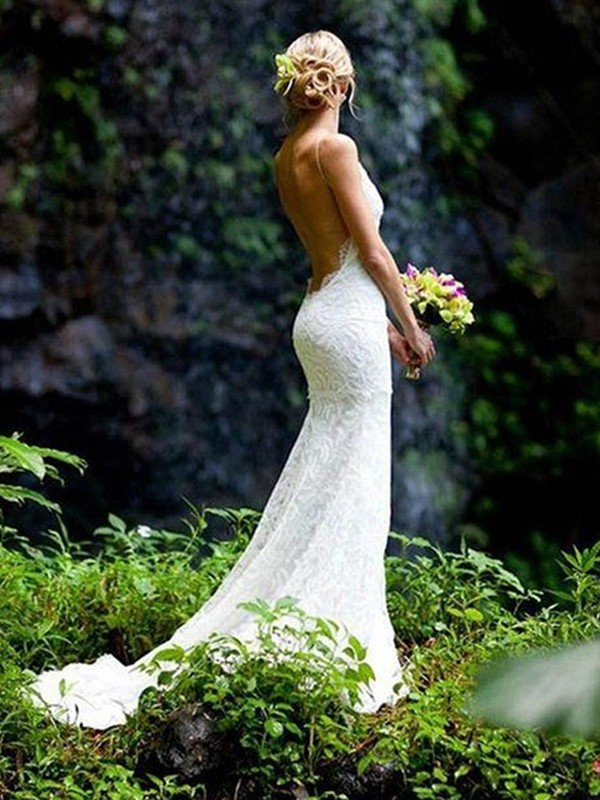 Lace Sheath Court Train V-neck Ivory Wedding Dresses