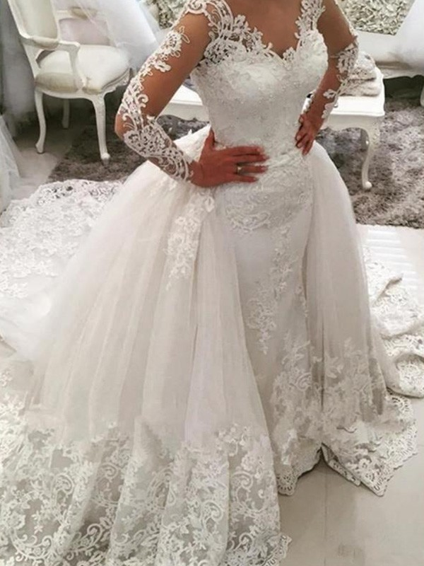 Tulle Long Sleeves V-neck Cathedral Train White Wedding Dresses