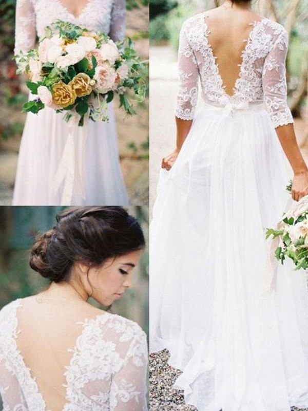 White A-Line V-neck Floor-Length Wedding Dresses with Applique