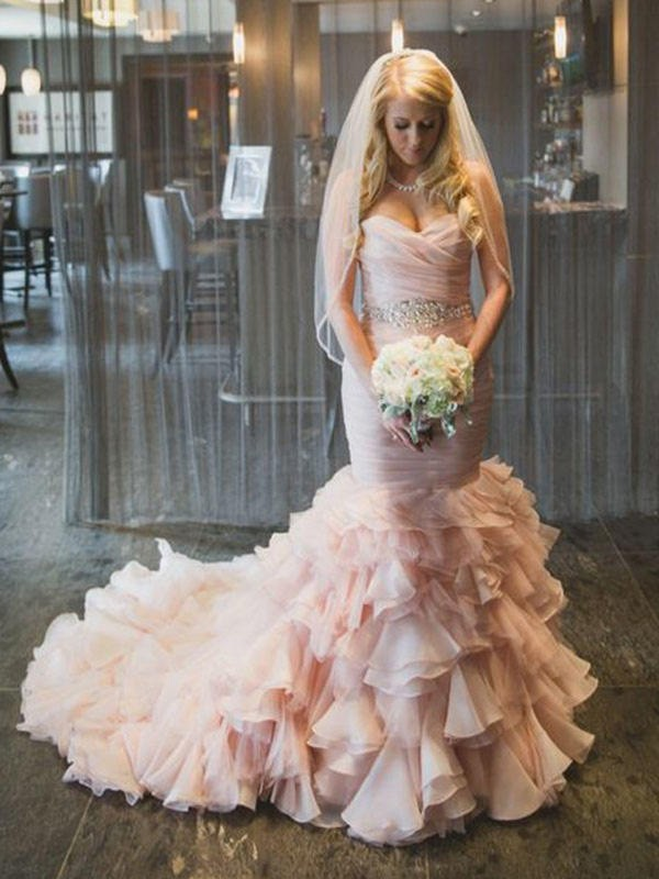 Mermaid Sweetheart Court Train Pink Wedding Dresses