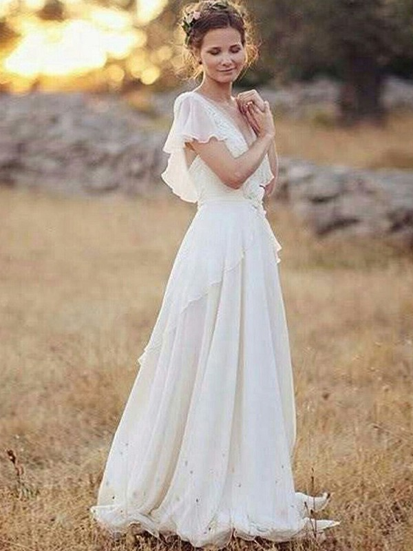 Chiffon Short Sleeves V-neck Floor-Length White Wedding Dresses