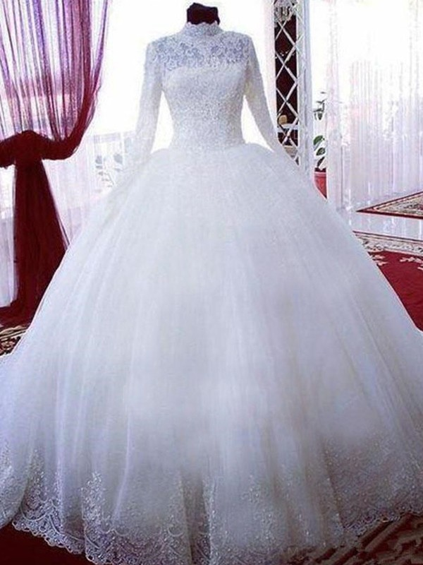 White High Neck Tulle Chapel Train Wedding Dresses
