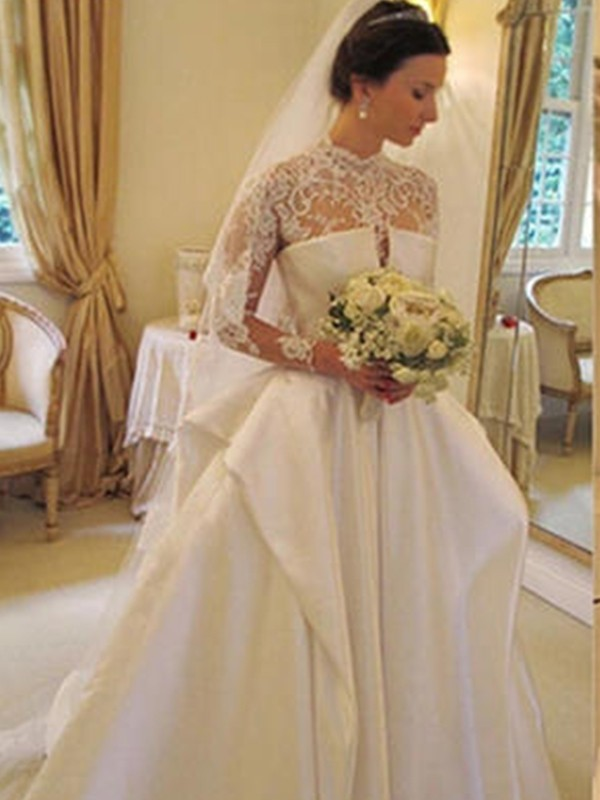 Organza Square Chapel Train White Wedding Dresses
