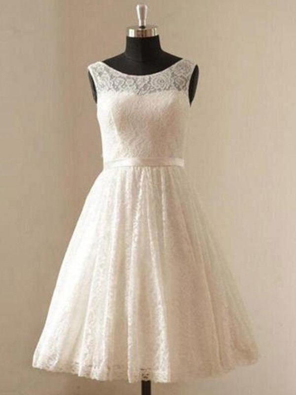 A-Line Scoop Knee-Length Ivory Wedding Dresses