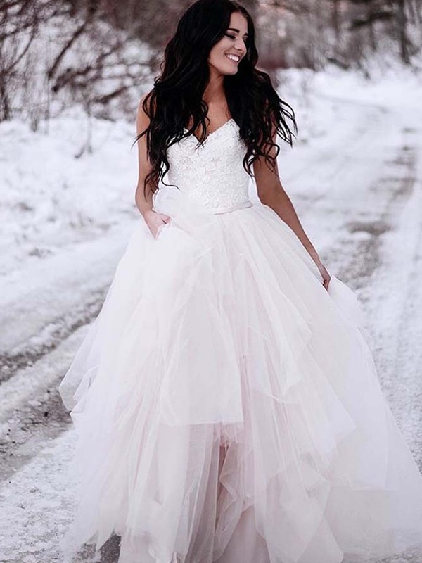 A-Line V-neck Floor-Length White Wedding Dresses