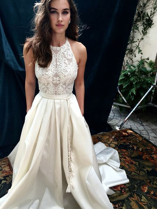 A-Line Halter Chapel Train Ivory Wedding Dresses with Lace