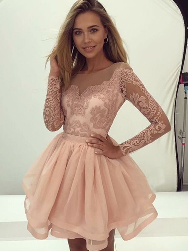 Short Scoop A-Line Long Sleeves Organza Pearl Pink Homecoming Dresses