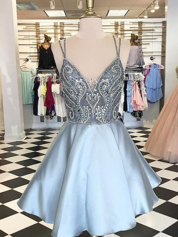 Short Spaghetti Straps A-Line Satin Light Sky Blue Homecoming Dresses