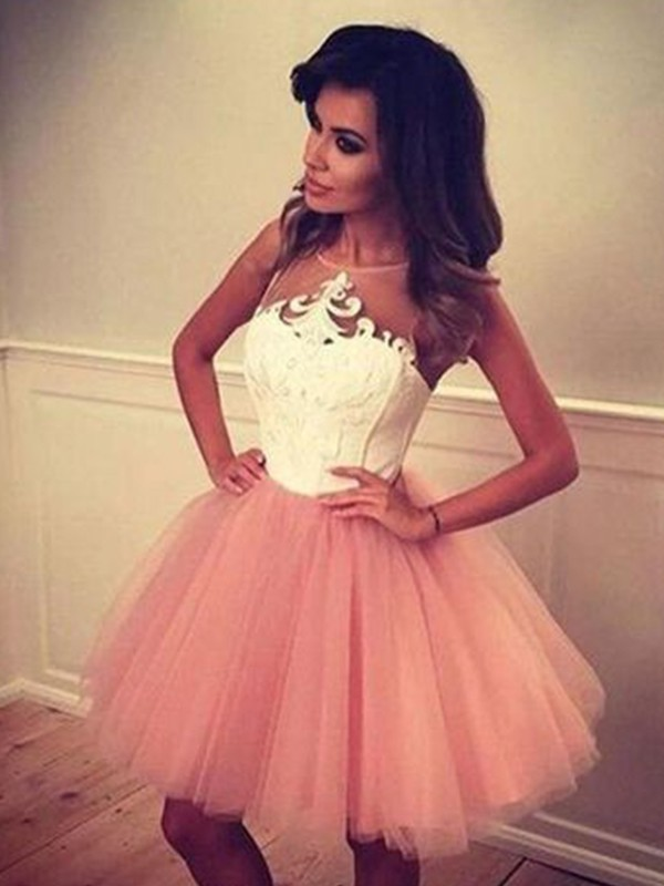 Short Bateau A-Line Tulle Pearl Pink Homecoming Dresses