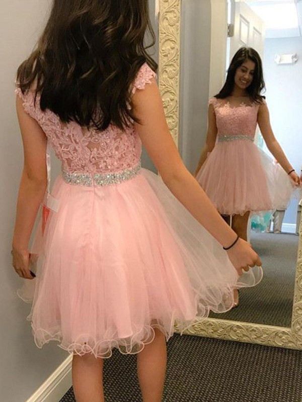 Short Bateau A-Line Tulle Pink Homecoming Dresses