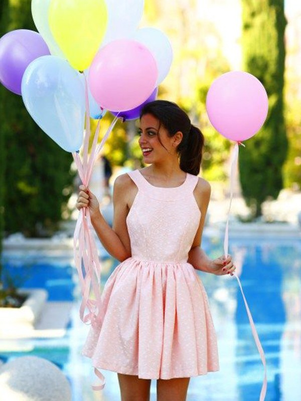 Short Halter A-Line Satin Pink Homecoming Dresses