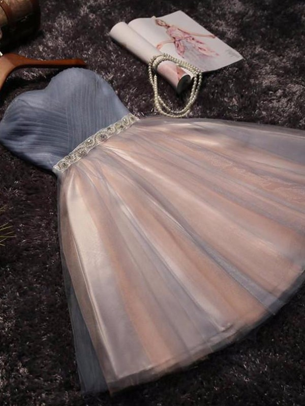 Short Sweetheart A-Line Tulle Pink Homecoming Dresses
