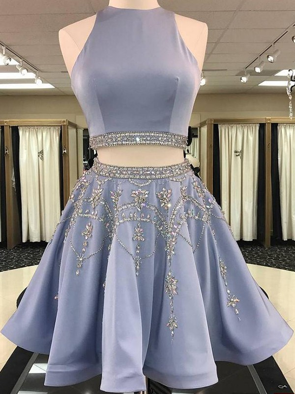 Short Bateau A-Line Satin Light Sky Blue Homecoming Dresses