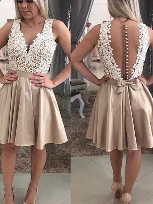 Short V-neck A-Line Satin Champagne Homecoming Dresses