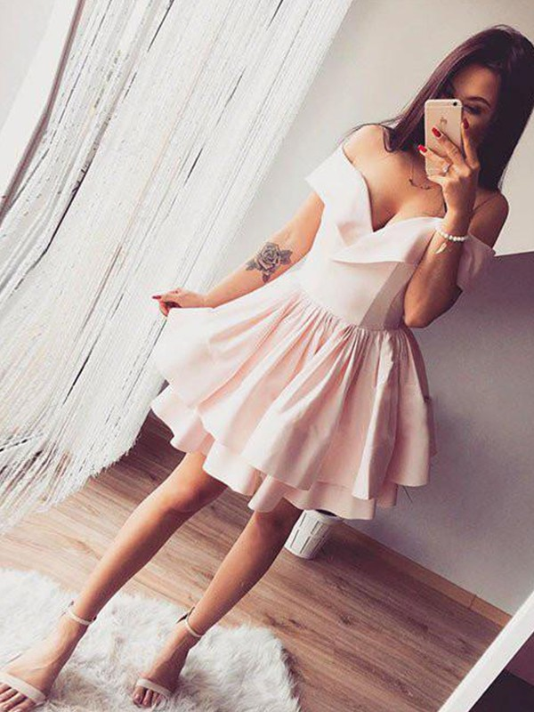 Short Off-the-Shoulder A-Line Satin Pink Homecoming Dresses
