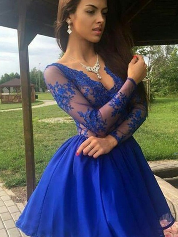Short V-neck A-Line Long Sleeves Organza Royal Blue Homecoming Dresses