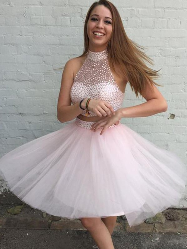 Pearl Pink Short Tulle Homecoming Dresses