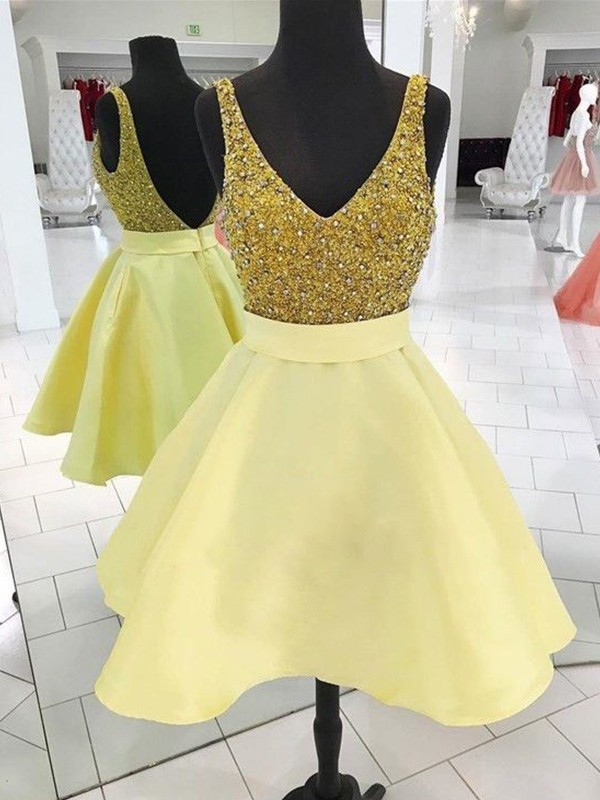 A-Line V-neck Cut Satin Yellow Homecoming Dresses