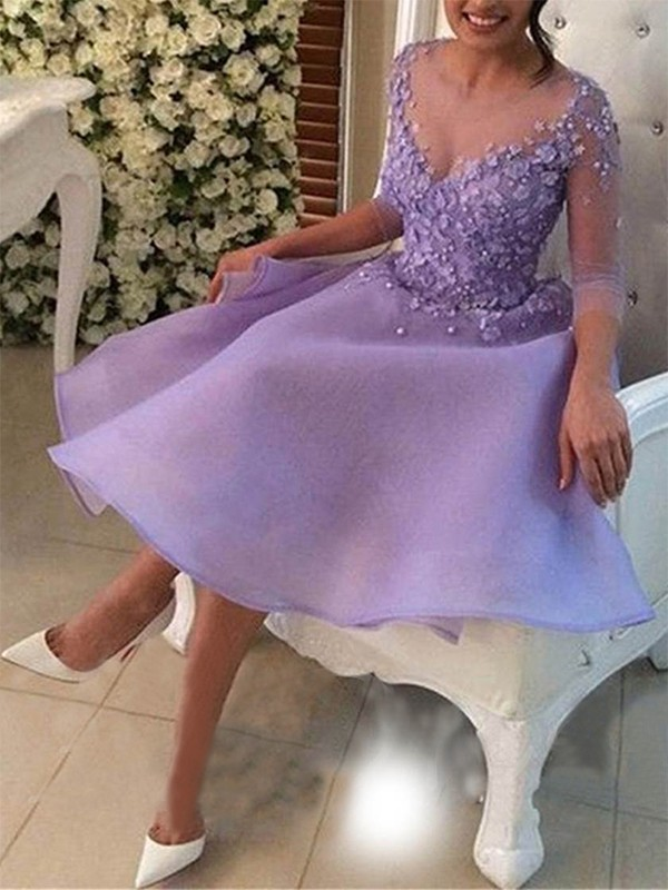 V-neck Cut Short Lilac Homecoming Dresses